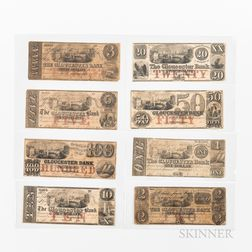 Eight Gloucester Bank Notes