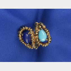 18kt Gold, Lapis, and Turquoise Bypass Ring