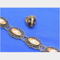 Silver Filigree and Cameo Bracelet and a Cabochon Ring.