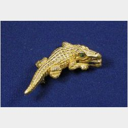 18kt Gold Alligator Pin