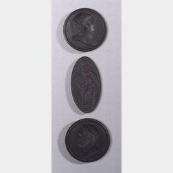 Three Wedgwood Black Basalt Intaglio Medallions