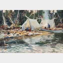 John Whorf (American, 1903-1959)      Camp by the Lake