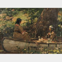 Gilbert Gaul (American, 1855-1919)      Two Indians in a Canoe, Forest Interior