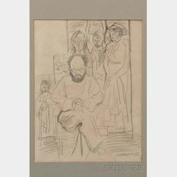 Raphael Soyer (American, 1899-1987)    Preparatory Drawing