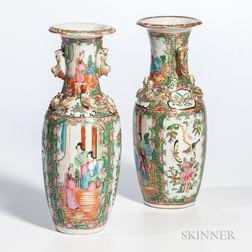 Two Rose Medallion Export Porcelain Vases