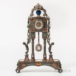 Viennese Silver, Enamel, and Jeweled Clock