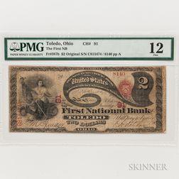 "1865 Original First National Bank of Toledo, Ohio $2 ""Lazy Deuce,"" Ch. 91, PMG Fine 12"