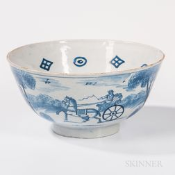 Blue and White Tin-glazed Earthenware Punch Bowl