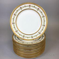 Set of Twelve Limoges Gilt-rimmed Porcelain Dinner Plates