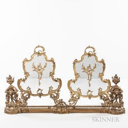 Louis XV-style Gilt-bronze Fire Fender and a Pair of Screens