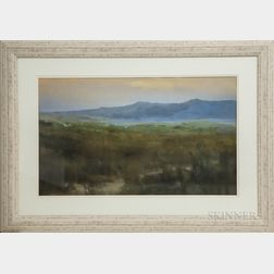 Framed Photographic Reproduction of a Pastel Landscape