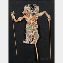 Framed and Painted Indonesian Shadow Puppet