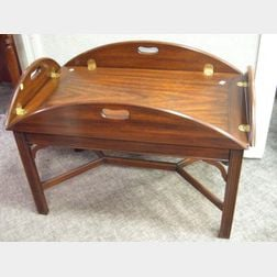 Chippendale-style Inlaid Mahogany Butlers Tray Table.