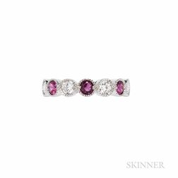 18kt White Gold, Ruby, and Diamond Eternity Band
