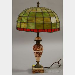 Gilt-metal Mounted Marble Vasiform Table Lamp with Leaded Art Glass Dome Shade.