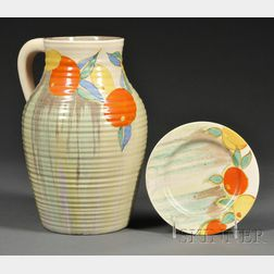 Clarice Cliff Bizarre Ware Delecia Citrus Pattern Single-handled Lotus Jug and Plate
