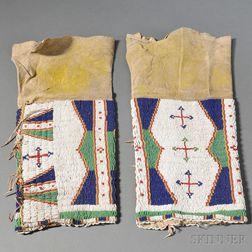 Pair of Lakota Beaded Hide Woman's Leggings