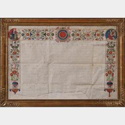Vitelleschi, Mutio (1563-1645) Illuminated Parchment Document Signed.   Rome, 3 February 1624.