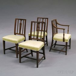 Four George III Oak Dining Chairs and a Black-painted Ladder-back Armrocker