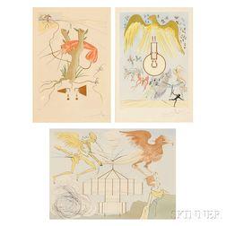 Salvador Dalí (Spanish, 1904-1989)      Three Plates from Hommage à Leonardo da Vinci  :   L'Aéroplane, Le Téléphone