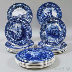 Twenty-two Wedgwood Blue Transfer-decorated Boston Plates.     Estimate $300-500
