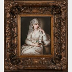 KPM Porcelain Plaque Depicting a Veiled Woman
