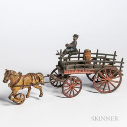 """Cast Iron """"City Truck"""" Horse-drawn Wagon and Driver"""
