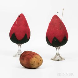 Three Large Strawberry Pincushions