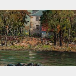 John F. Enser (American, 1898-1968)      House by a Stream in Summer