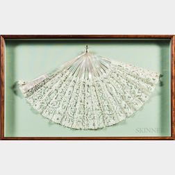 Framed Mother-of-pearl and Lace Fan