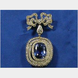 Edwardian Platinum, Sapphire and Diamond Pendant Brooch