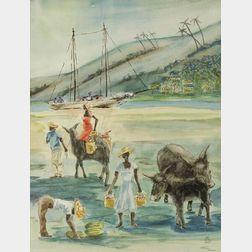M. Lewis Croissant (American, 20th Century)    In Port, Haiti.