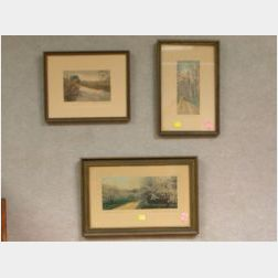 Three Framed Wallace Nutting Hand-colored Landscape Photographic Prints