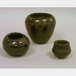Three Small Pieces of Southwest Native American Decorated Blackware Pottery