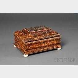 Regency Tortoiseshell and Abalone Inlay Work Box