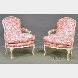 Pair of Louis XV-style Upholstered White-painted Carved Wood Fauteuils.