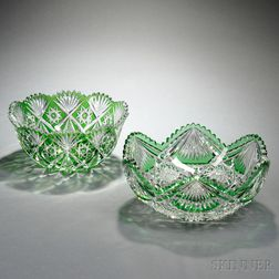 Two American Green Cut-to-Clear Glass Bowls