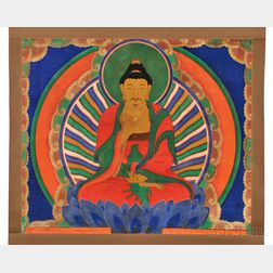 Buddhist Hanging Scroll Depicting Amitabha Buddha