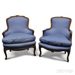 Pair of Provincial Louis XV-style Carved Fruitwood Bergere