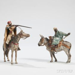 Two Austrian Polychrome Cold-painted Bronze Riders