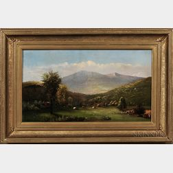 Charles Hunt (New York, Michigan, 1840-1914)      Pasture and Mountainous Landscape