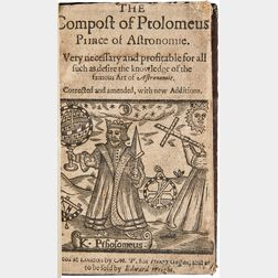 Ptolemy, Claudius (c. 100-170 AD) The Compost of Ptolomeus, Prince of Astronomie.