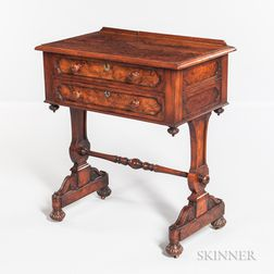 William IV Burlwood-veneer and Walnut Worktable