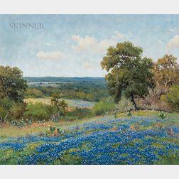Porfirio Salinas (American, 1910-1973)      Fields of Bluebonnets