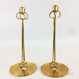 Art Nouveau-style Bronze Candlesticks