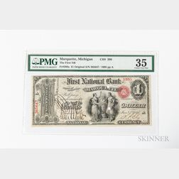 1865 Original First National Bank of Marquette, MI $1 Note, Ch. 390, PMG Choice Very Fine 35