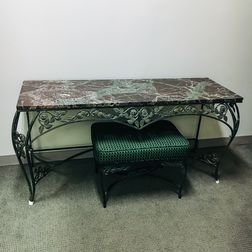 Marble-top Iron Vanity, Bench, and Mirror
