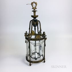 Federal-style Gilt-metal and Etched Glass Ceiling Lantern