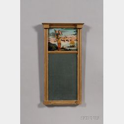 Federal Giltwood and Eglomise Looking Glass