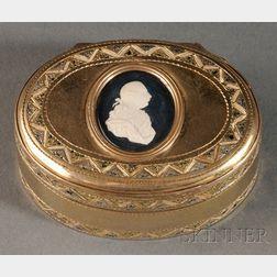 English Medallion-mounted and Patinated Gilt-metal Snuff Box